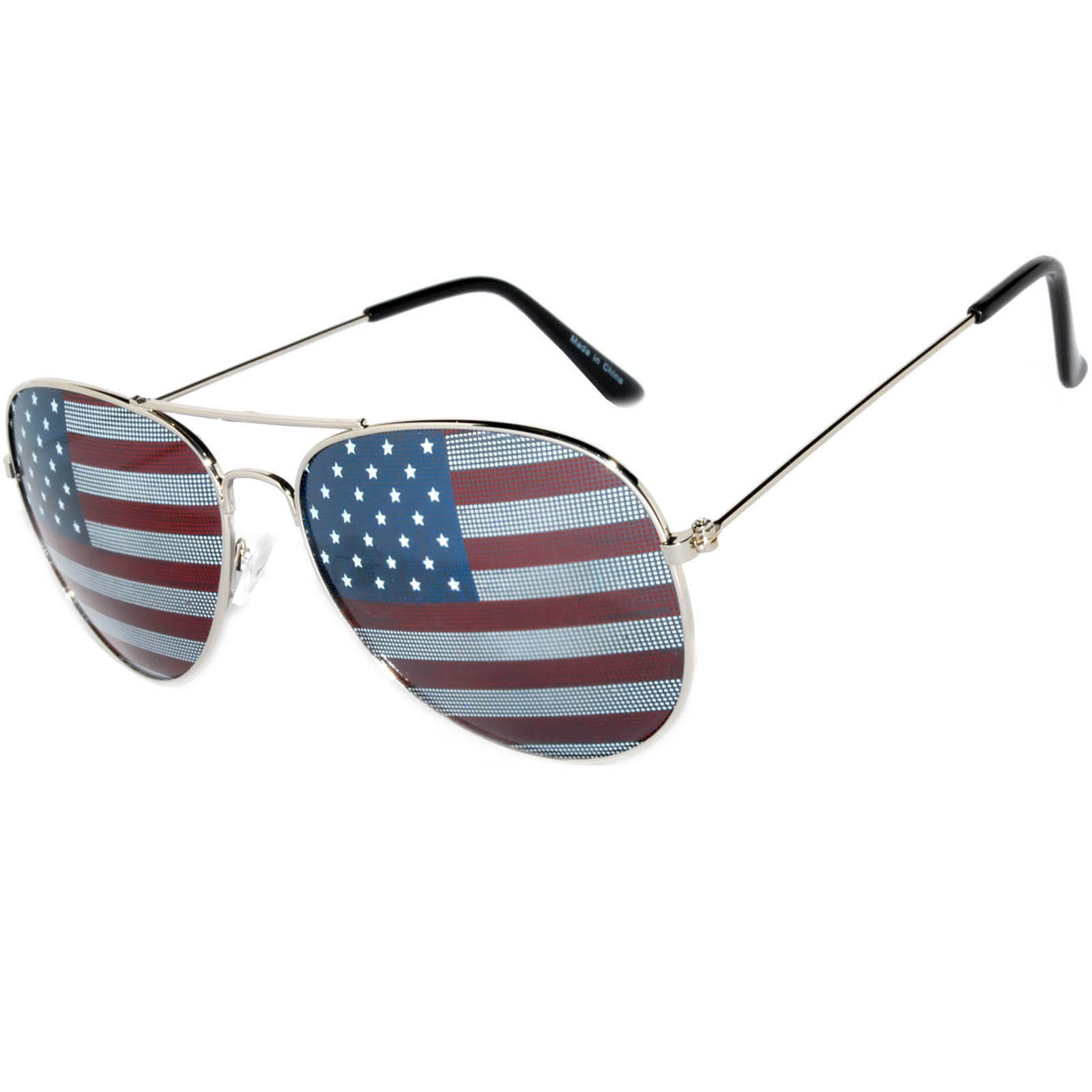 6930972664d4 OWL ® Eyewear Wholesale Aviator Sunglasses American Flag Lens Silver ...