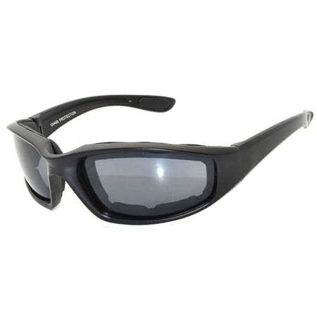 Motorcycle sunglasses black frame smoke lens