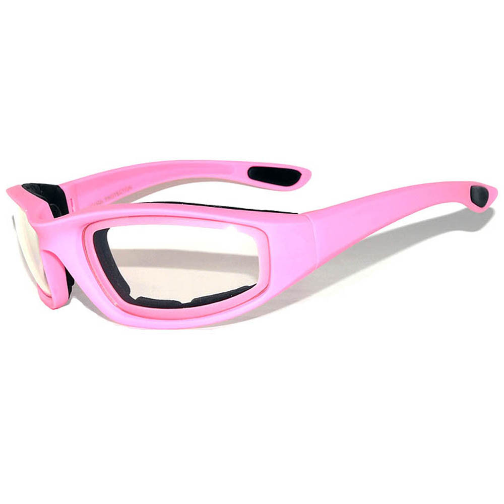 1 pair of Pink Motorcycle Padded Glasses Clear