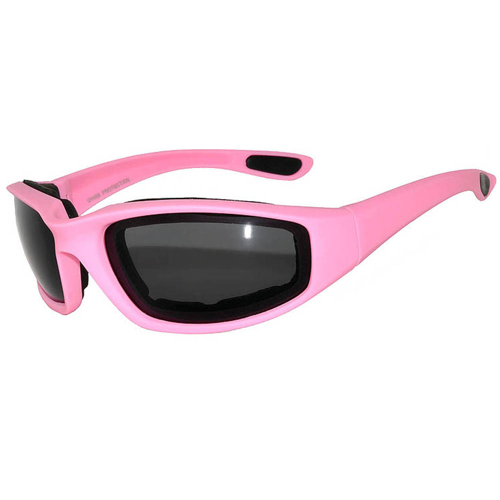 1 Pair of Motorcycle Padded Glasses Pink Smoke