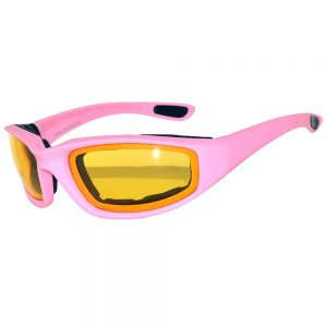 1 pair of Pink Motorcycle Padded Glasses Yellow