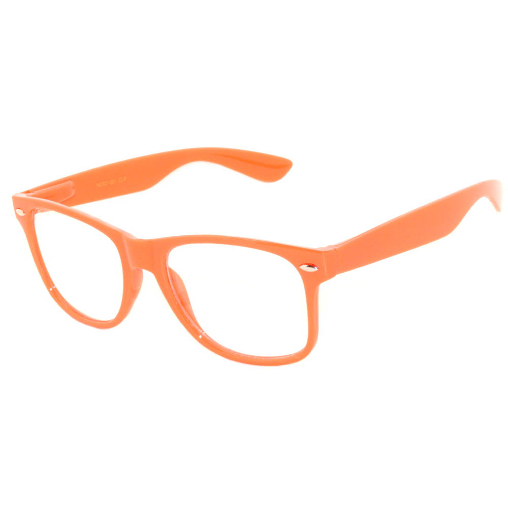 OWL ® Eyewear Retro Glasses Clear Lens Orange Frame (One Pair ...
