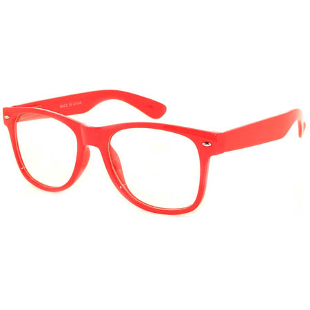 Retro Sunglasses Red Frame Clear Lens One Pair