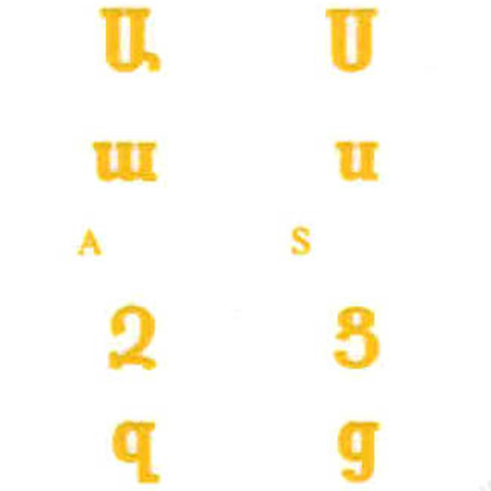 ARMENIAN KEYBOARD STICKERS YELLOW LETTERS TRANSPARENT BACKGROUND