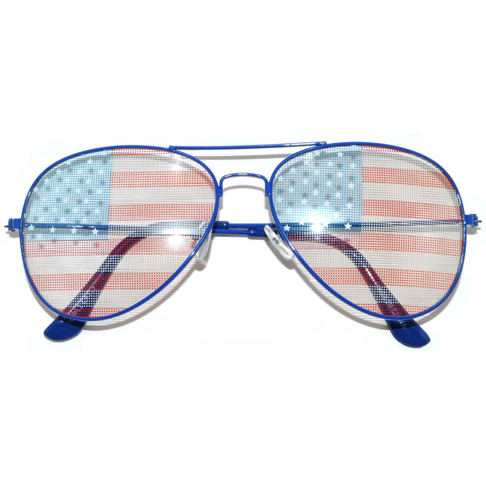 48af850f9a2aa OWL ® Eyewear Wholesale Aviator Sunglasses American Flag Lens Blue ...