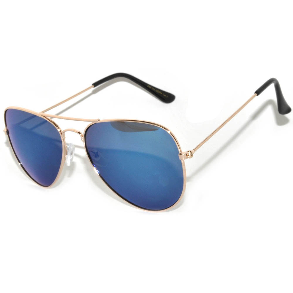 1 Pair of Aviator Sunglasses Gold Frame Blue Lens One Pair