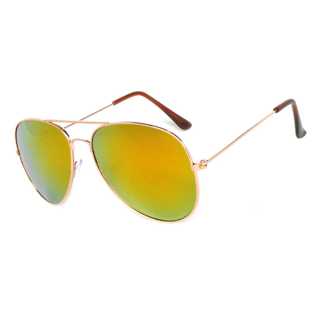 Cool Aviator Sunglasses Gold Frame Red Mirror Lens