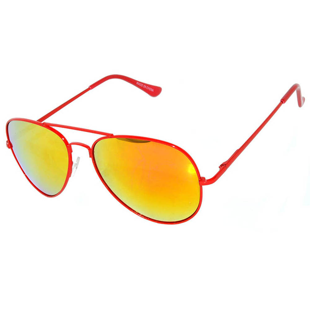 OWL ® Eyewear Aviator Sunglasses Spring Hinges Mirror Lens Red frame ...