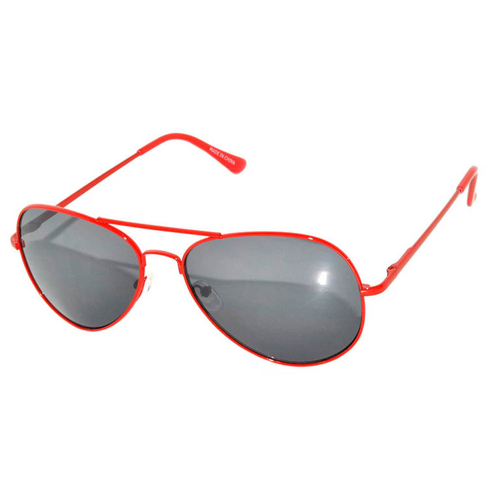 OWL ® Eyewear Aviator Sunglasses Spring Hinges Smoke Lens Red frame ...