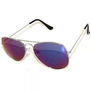1 Pair of Aviator Sunglasses Silver Frame Mirror Blue Green Lens One Pair