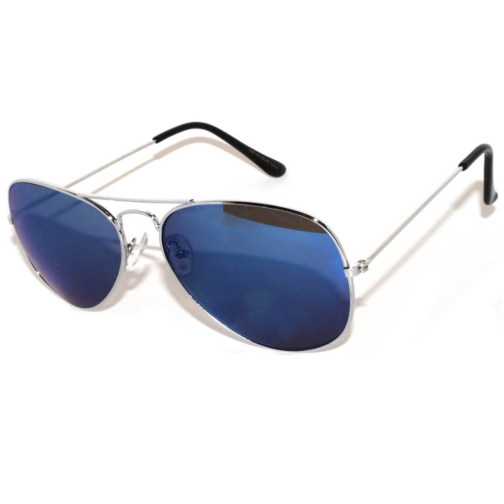 422295b4c37 OWL ® Eyewear Aviator Sunglasses Silver Frame Mirror Blue Lens One ...