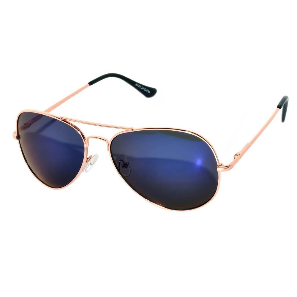 Aviator sunglasses spring hinge gold blue lens