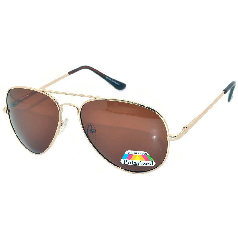 Aviator Polarized Sunglasses Gold Frame Brown Lens One Dozen