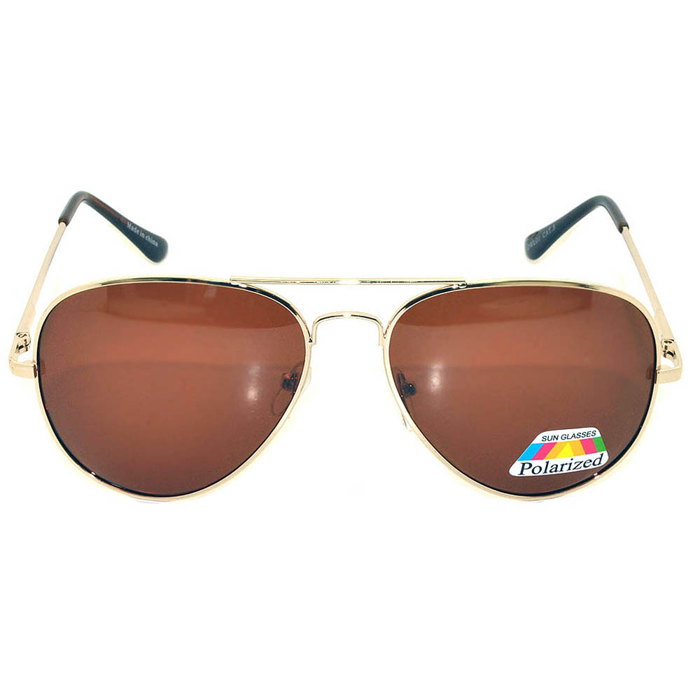 Aviator Polarized Lens Gold Metal Frame Sunglasses Brown