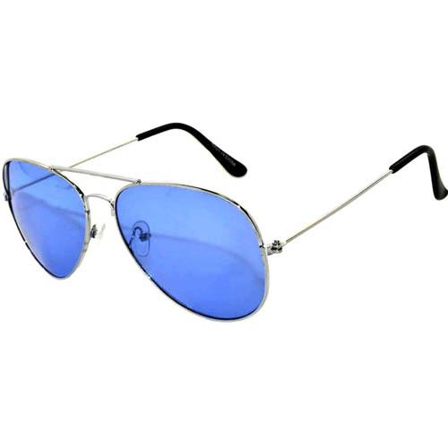Aviator blue lens sunglasses silver frame