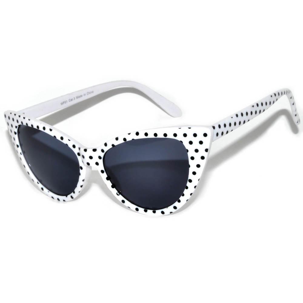 Pair Frame Smoke Eye Lens Cat C062skwhdotone Sunglasses Dots Polka White Black bfvYyg76