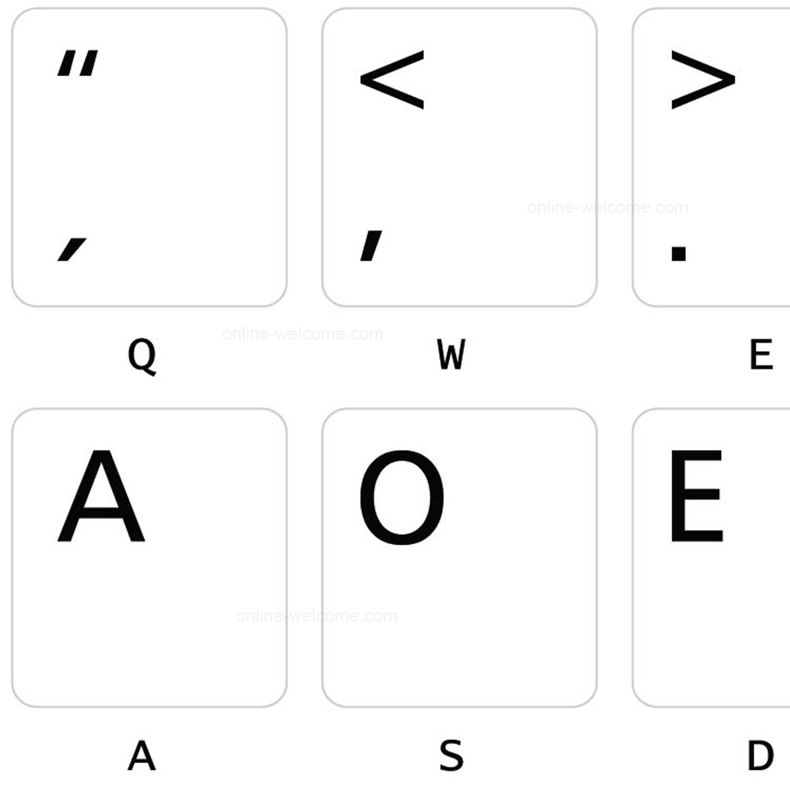 Dvorak UK Keyboard Labels ON Transparent Background with Blue Lettering 14X14