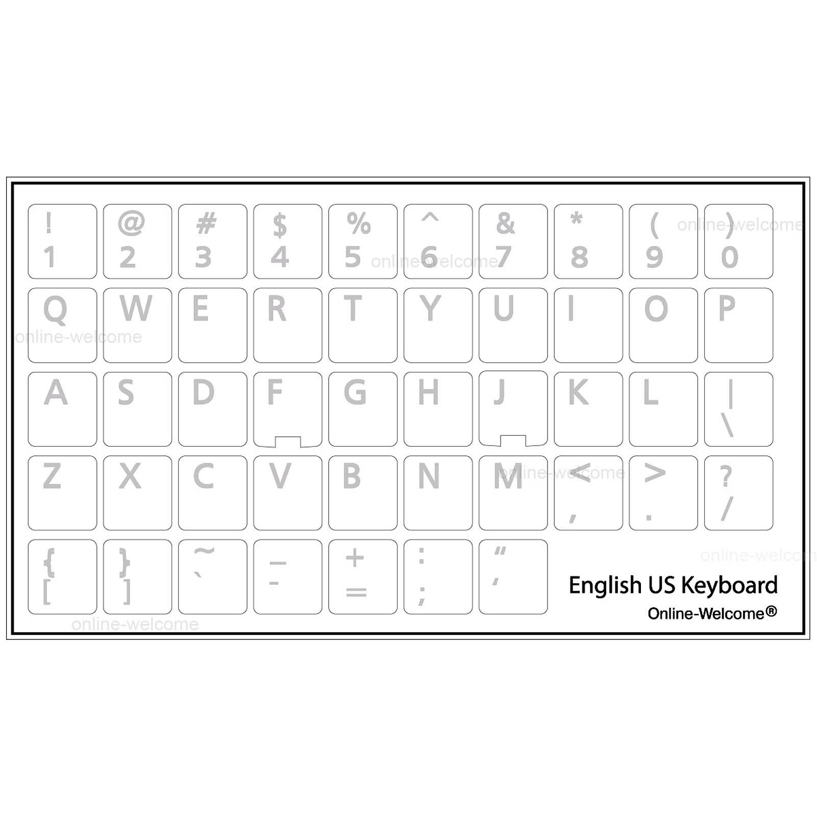 English Us Keyboard Sticker Transparent White Letters For Windows 11 13 Mm Online Welcome