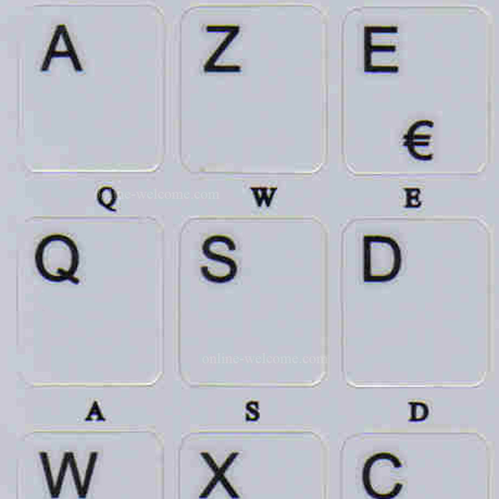 French Azerty Grey letters for keyboard