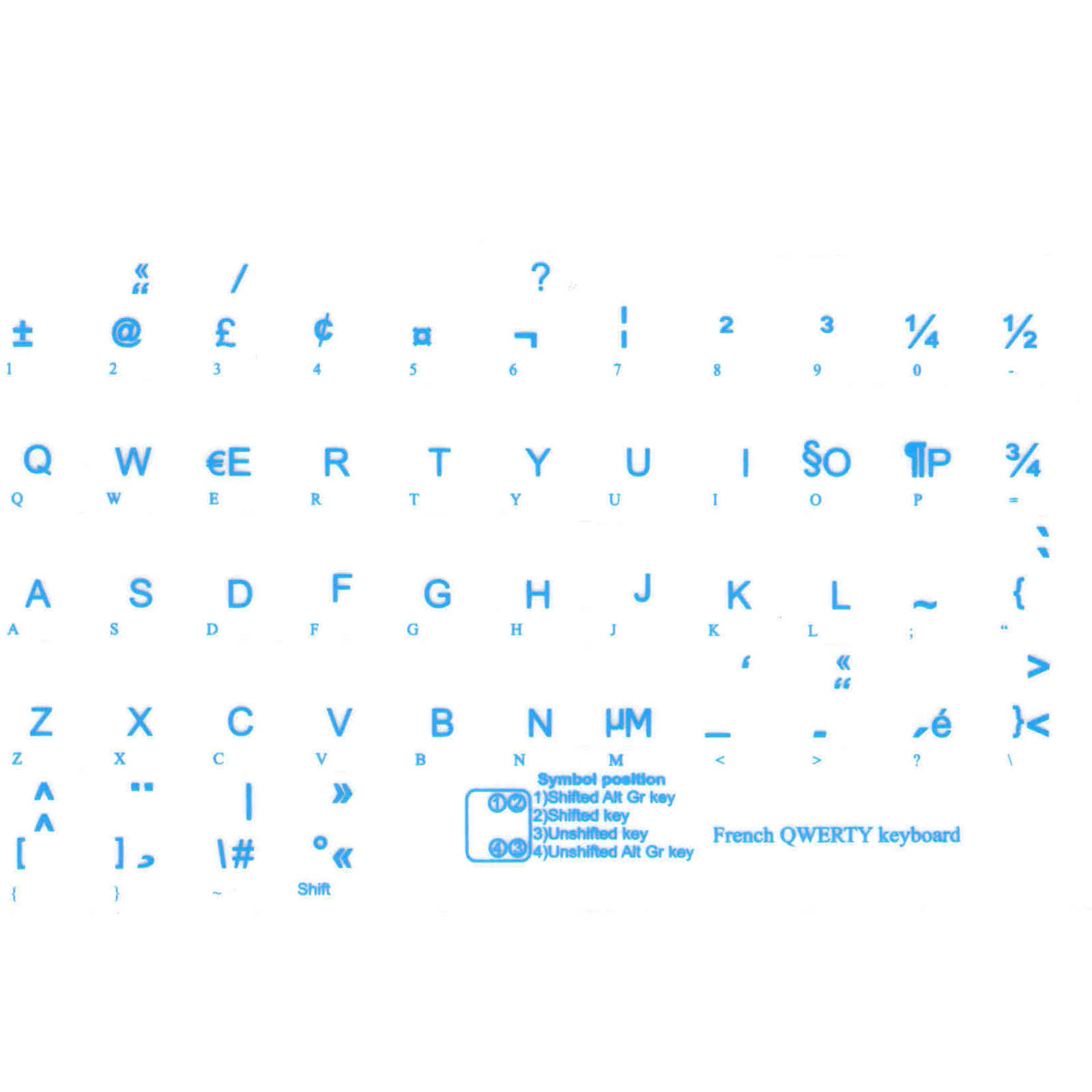 French qwerty keyboard stickers blue letters transparent french qwerty keyboard stickers blue letters transparent background spiritdancerdesigns Images
