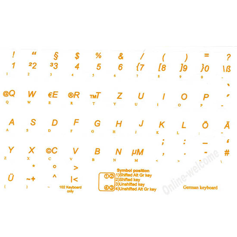 German Transparent Yellow Letters Keyboard Sticker 1113 Mm Online