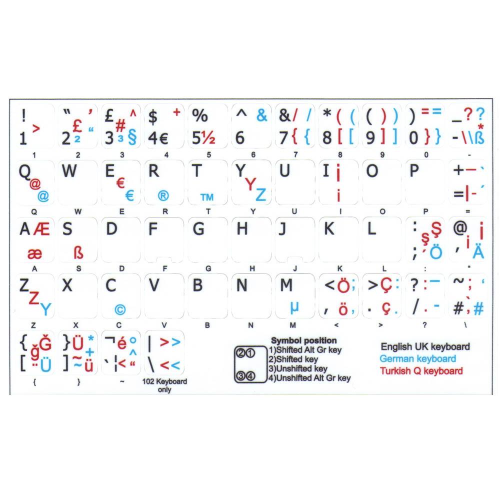 Turkish q german english uk white keyboard sticker 1113 mm german turkish q english uk keyboard stciker buycottarizona