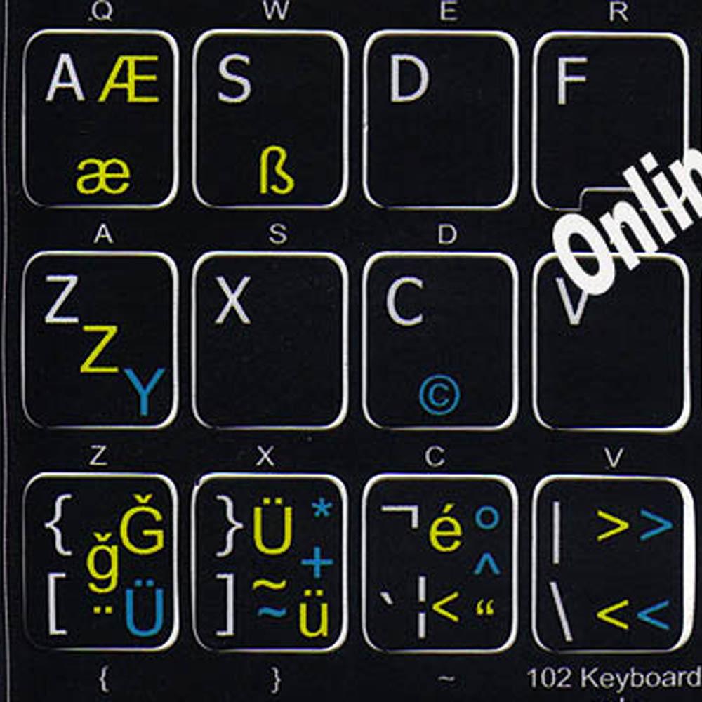 German-Turkish Q-English UK keyboard sticker