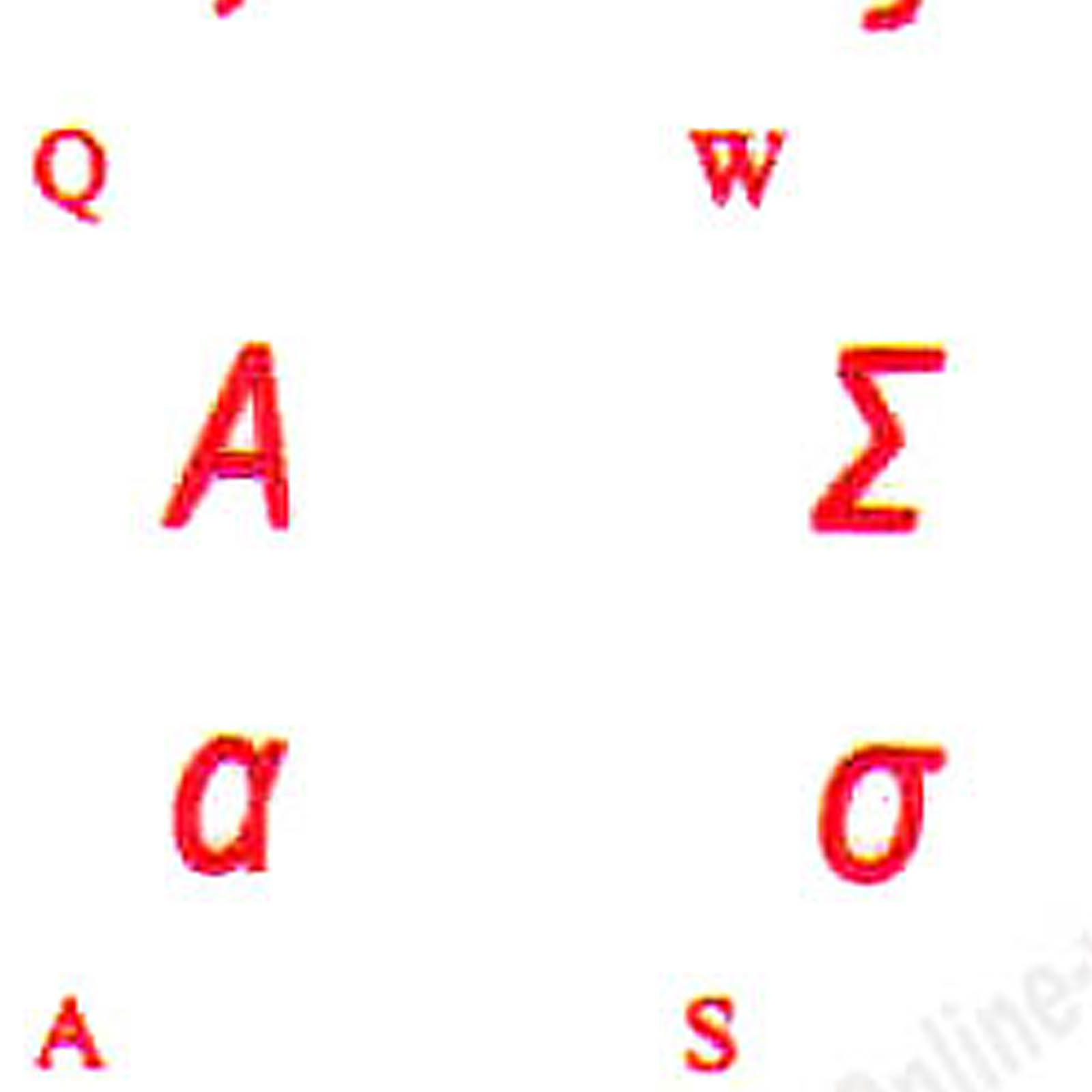 GREEK STICKERS KEYBOARD RED LETTERS TRANSPARENT BACKGROUND