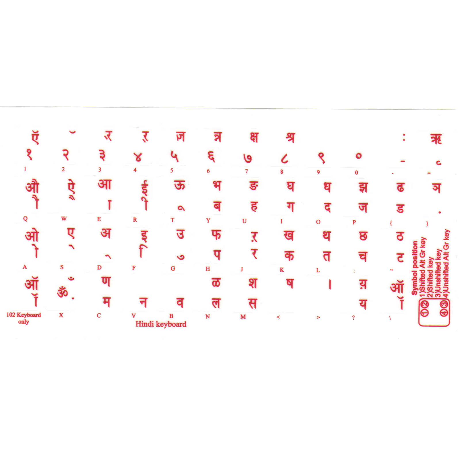 Sticker decal keyboard red letter hindi transparent pc
