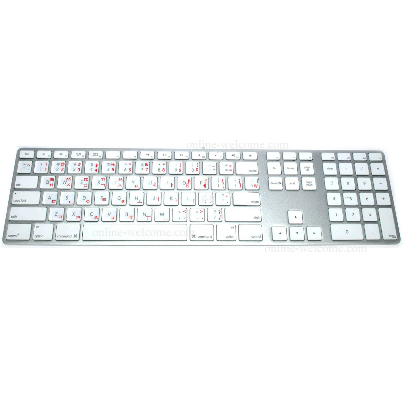 Korean Keyboard Sticker Transparent Red Letters Online Welcome