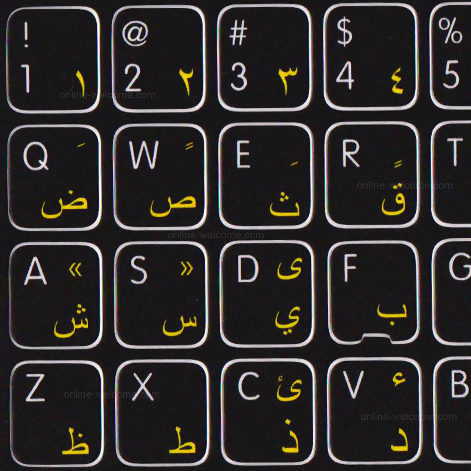 MAC ENGLISH ARABIC HEBREW KEY STICKER BLACK