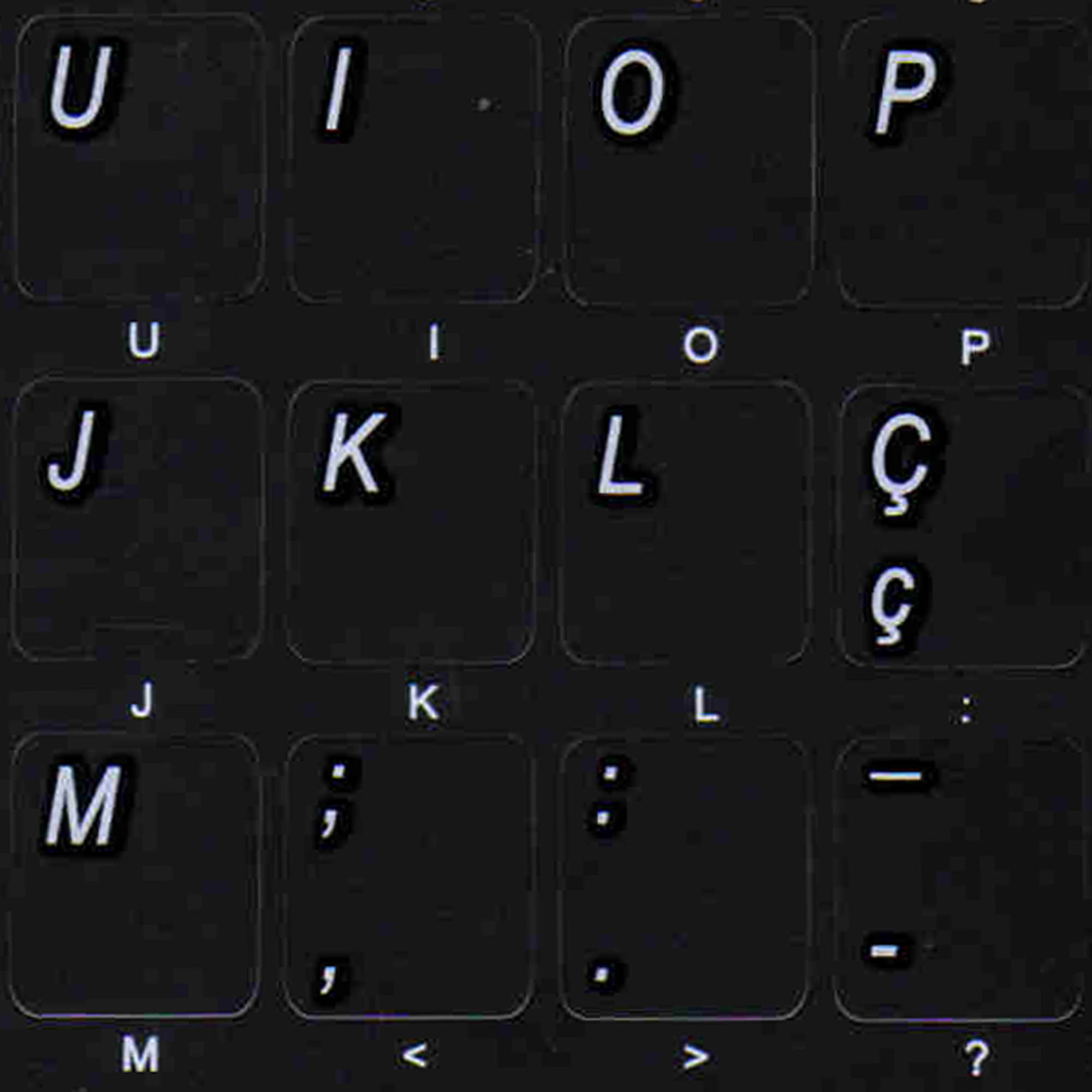 Portuguese Transparent Keyboard Stickers White