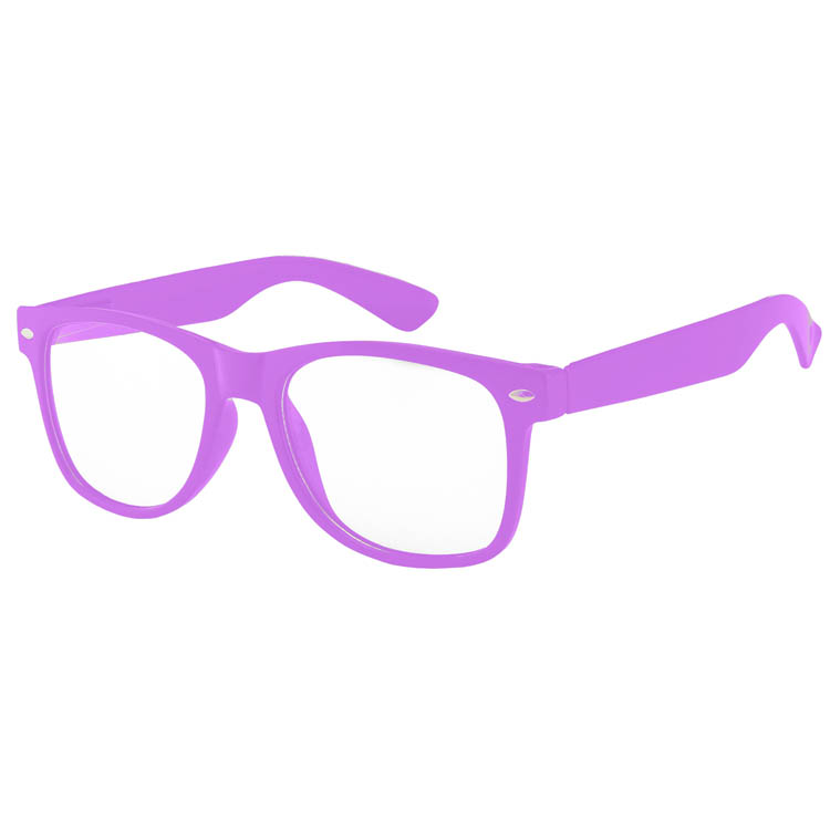 Purple Retro plastic glasses clear lens