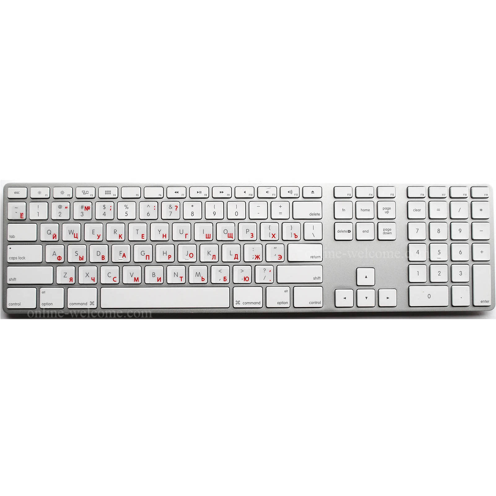 Russian Keyboard Stickers Transparent Red Letters Online Welcome