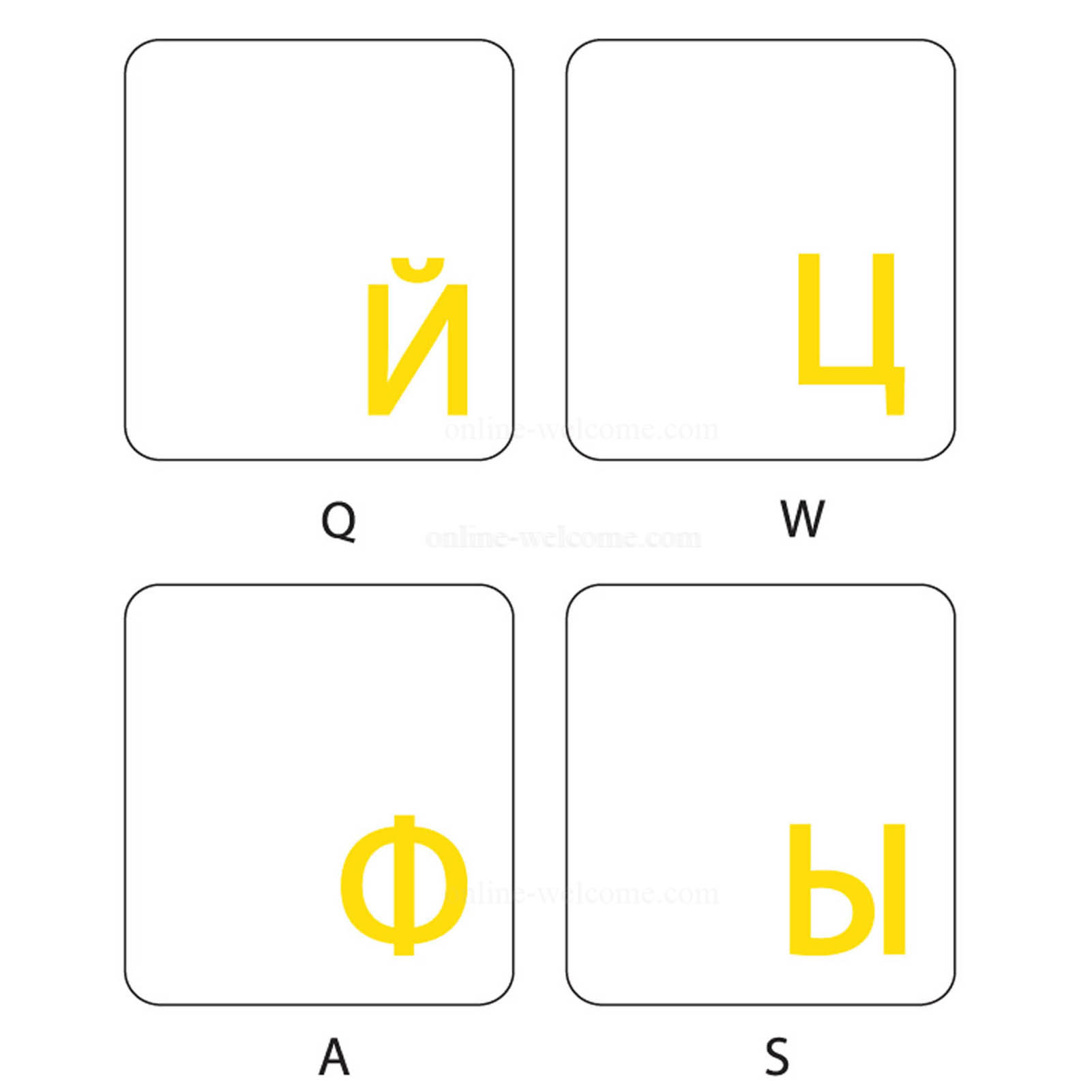 Russian keyboard sticker yellow letters transparent