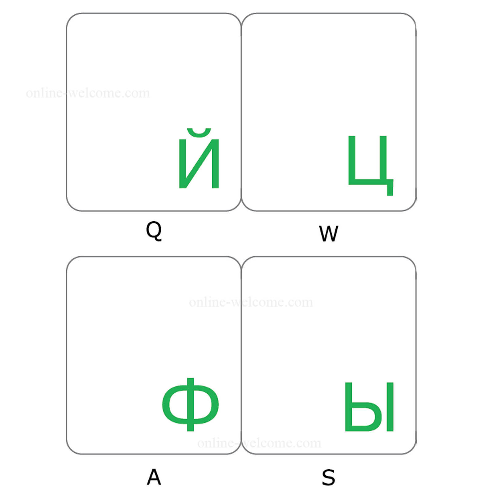 Russian keyboard stickers transparent green letters