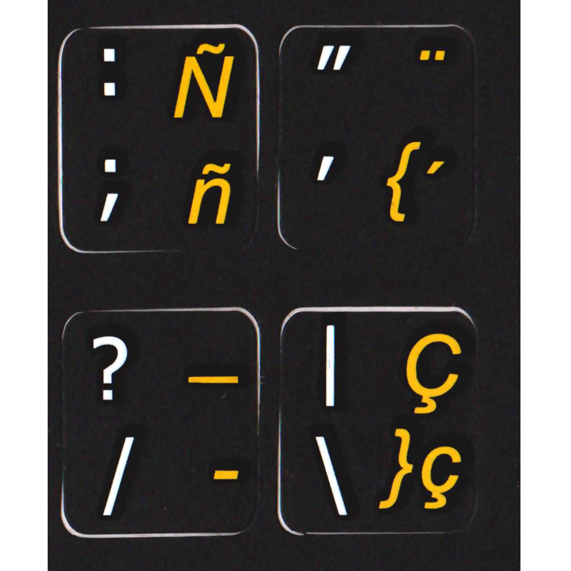 Spanish traditional - English keyboard labels black buy here