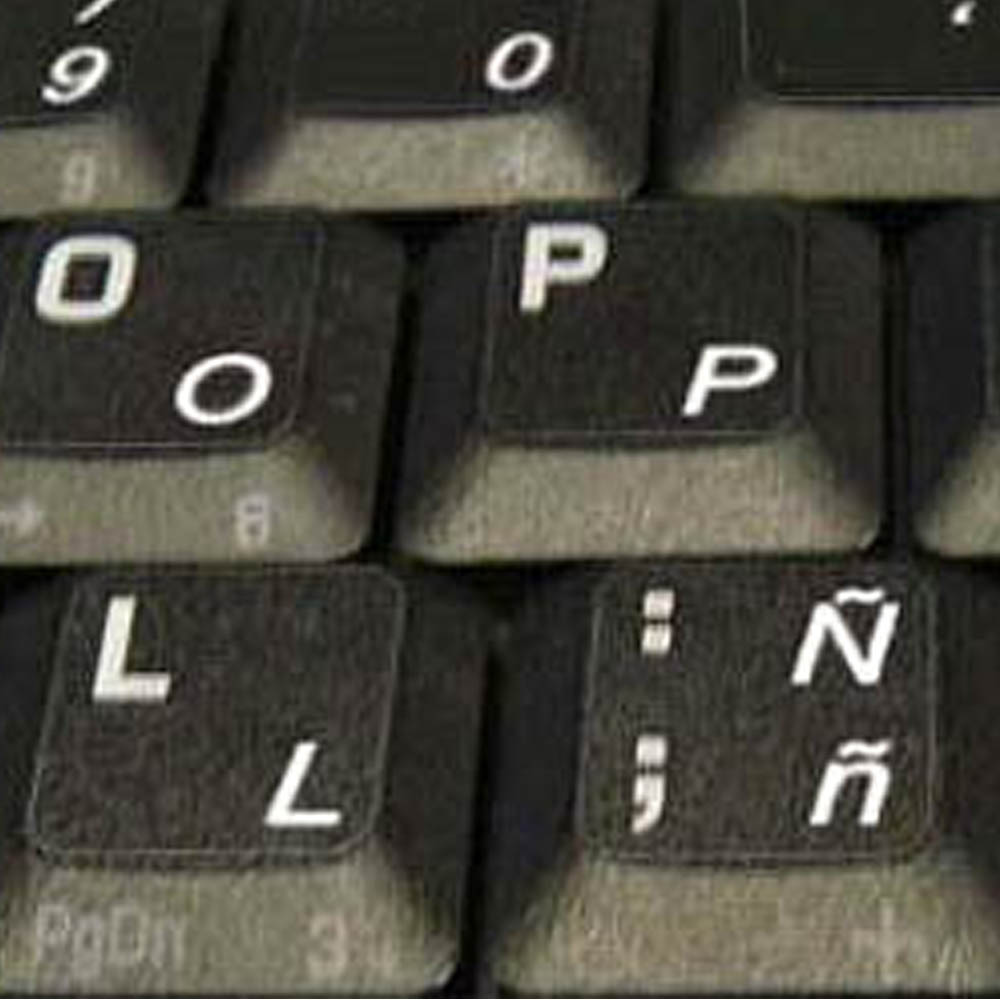 KEYBOARD STICKER WITH WHITE LETTERING TRANSPARENT BACKGROUND SPANISH TRADITIONAL