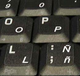 Spanish latin american keyboard sticker transparent white letters spanish latin american transparent white keyboard stickers spiritdancerdesigns Images