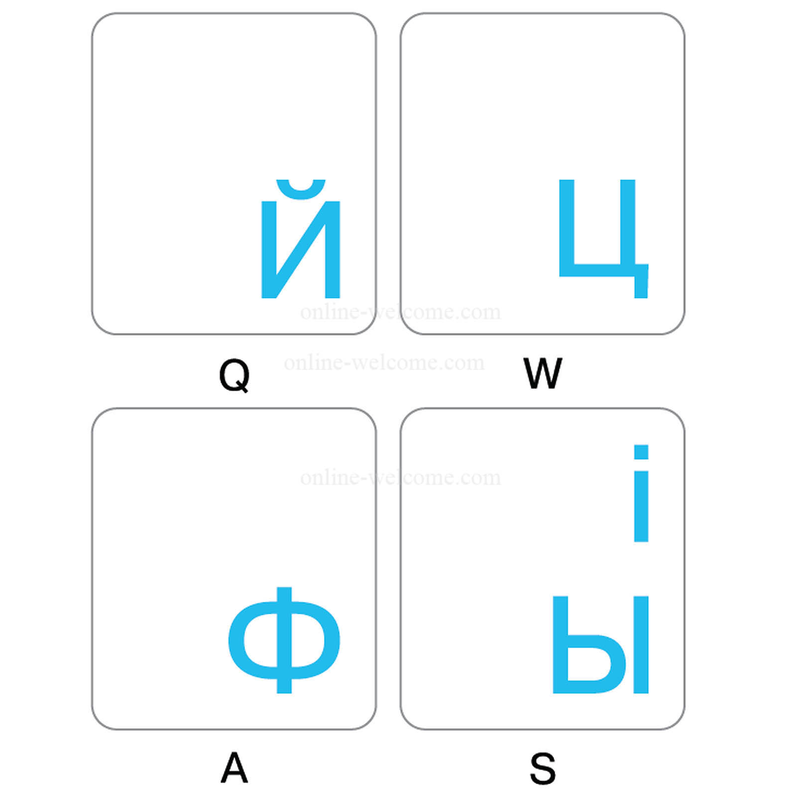 Ukrainian-Russian keyboard sticker blue letters