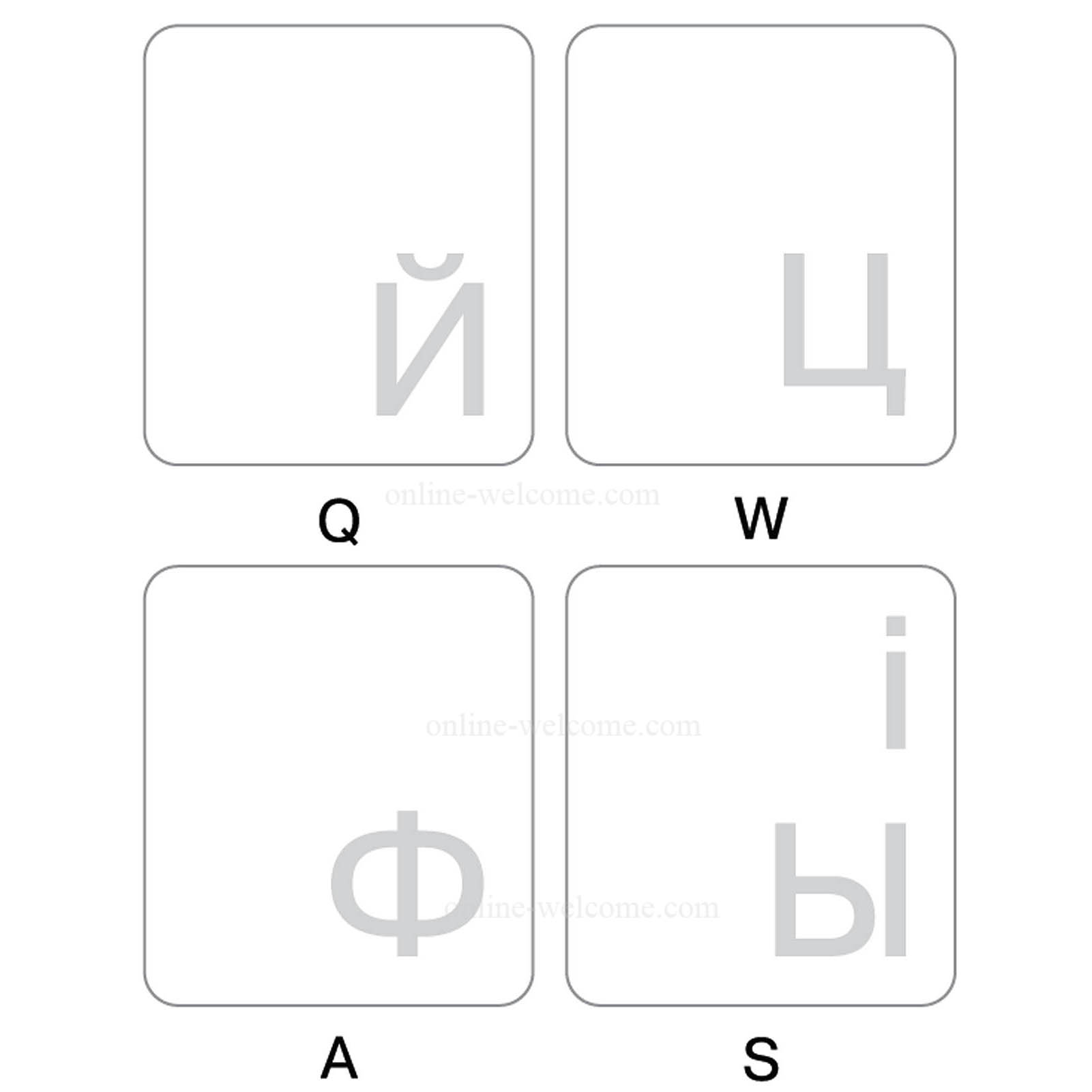 Ukrainian-Russian keyboard sticker white letters