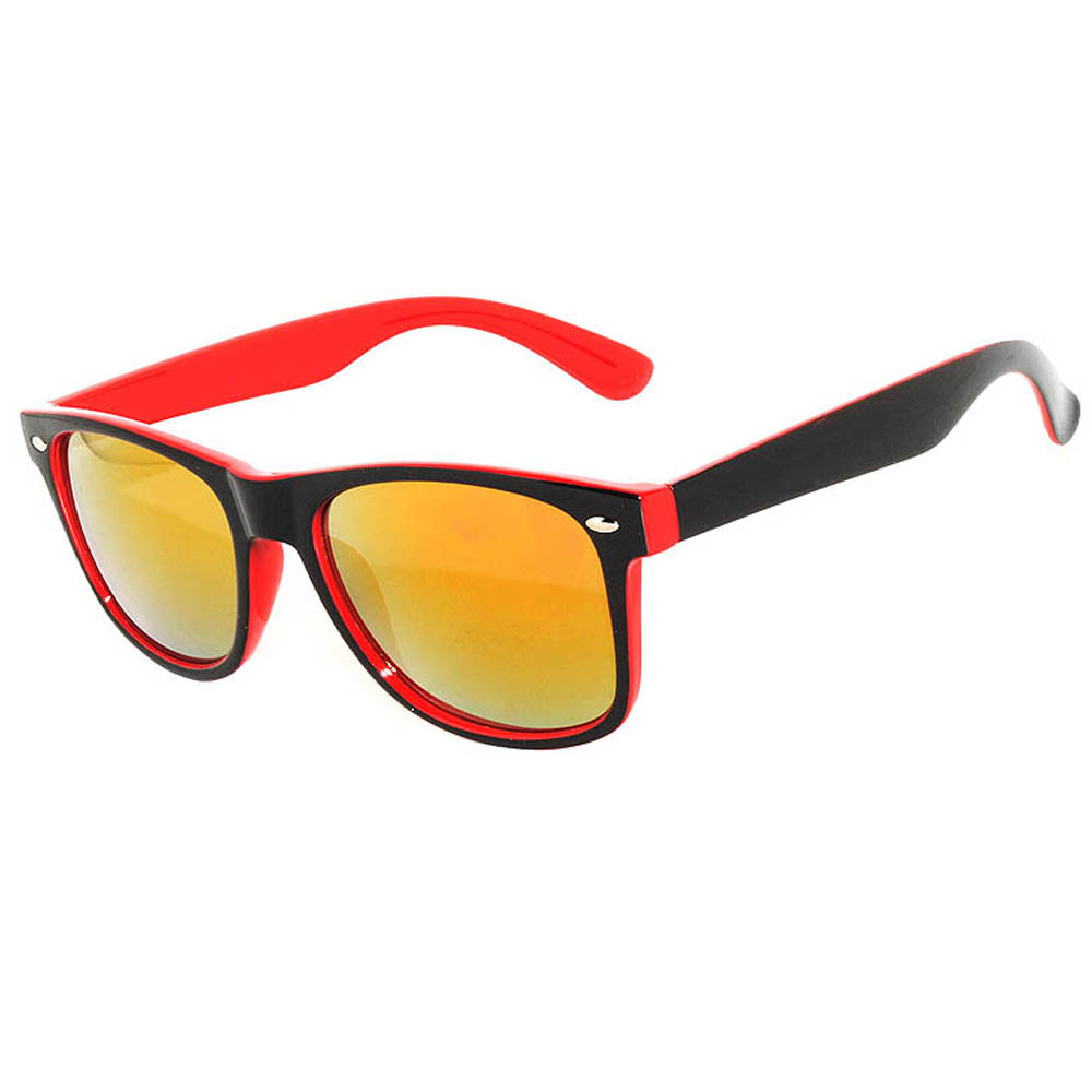 1 pair of Sunglasses 2 Tone Colored Mirror Lens Red