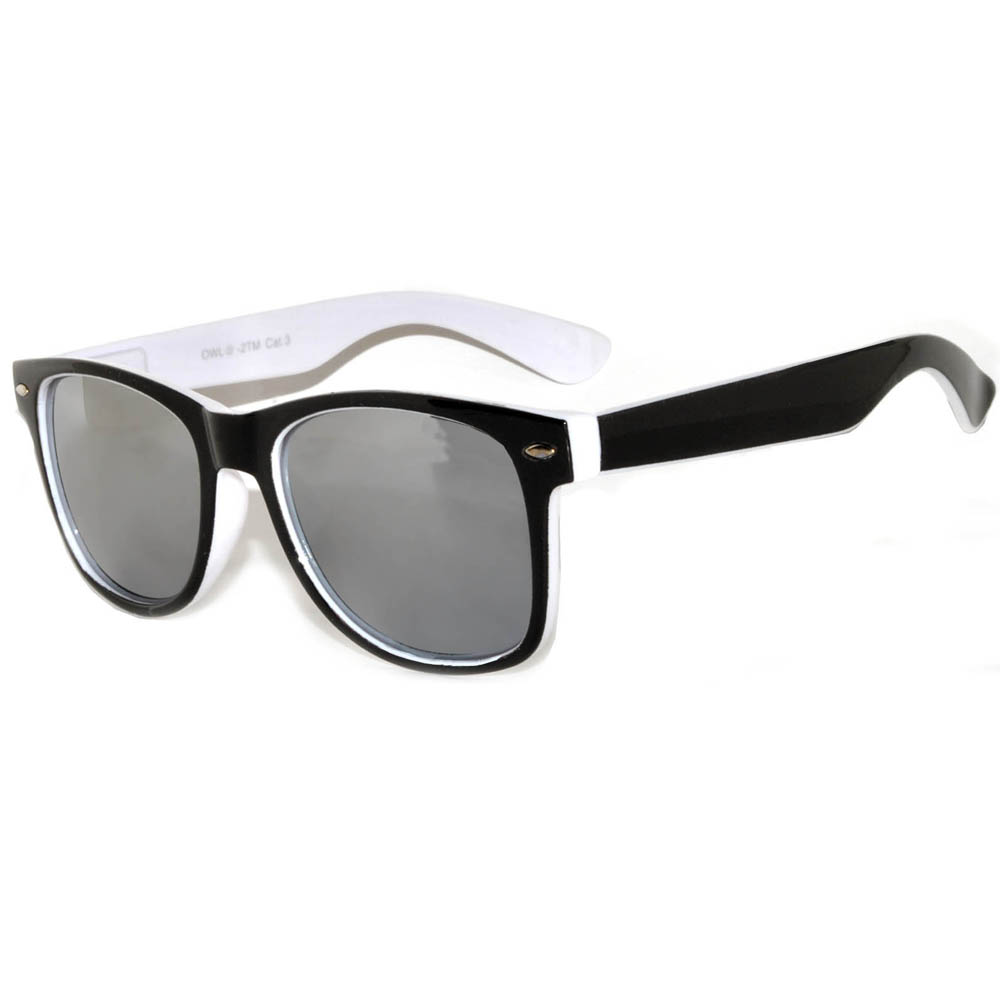 1 pair of Sunglasses 2 Tone Colored Mirror LensWhite