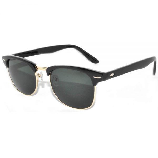 Half Frame Sunglasses Black Gold Frame Green Lens One Dozen