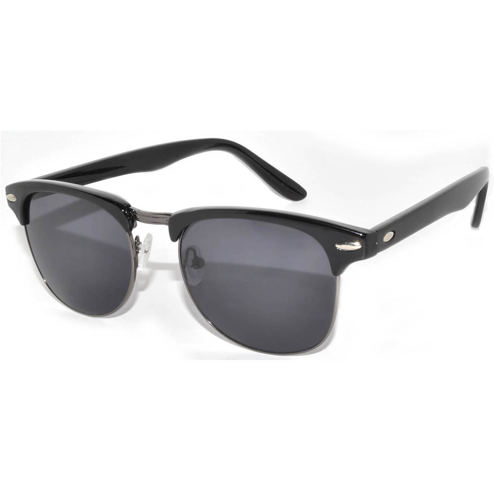 Half Frame Sunglasses Black Gun Frame Smoke Lens One Dozen