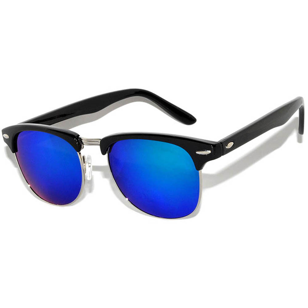 Half Frame Sunglasses Black Silver Frame Blue-Green Mirror Lens One Pair
