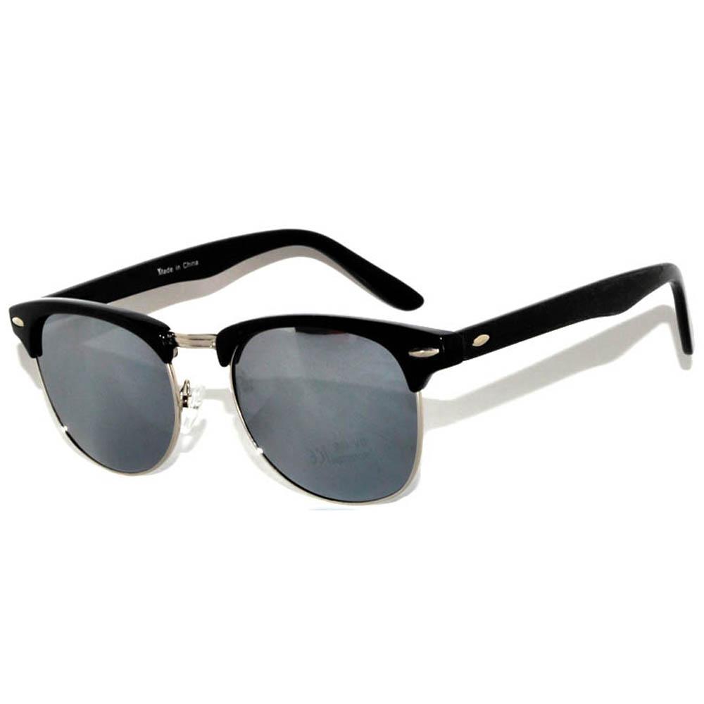 Half Frame Sunglasses Black Frame Silver Mirror Lens One Pair