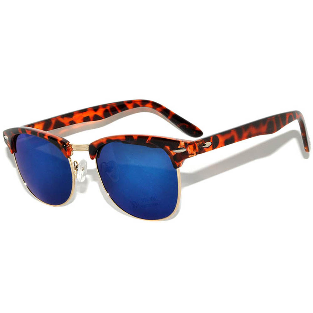 Half Frame Sunglasses Leopard Frame Blue Mirror Lens One Pair