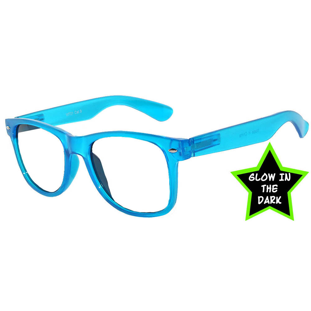 Owl Eyewear Glow In The Dark Sunglasses Blue Frame Clear Lens One