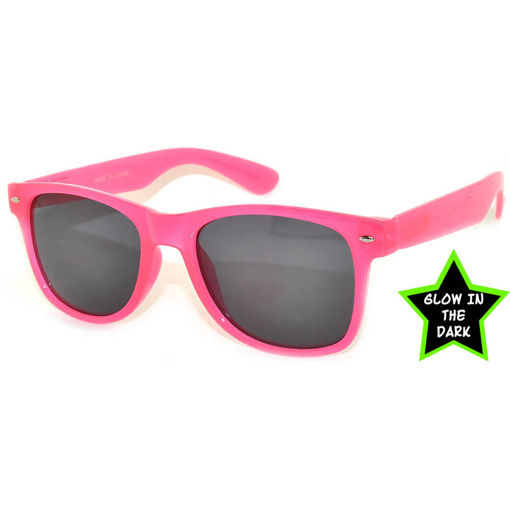 1 pair of Glow in the Dark Sunglasses Smoke Lens Pink